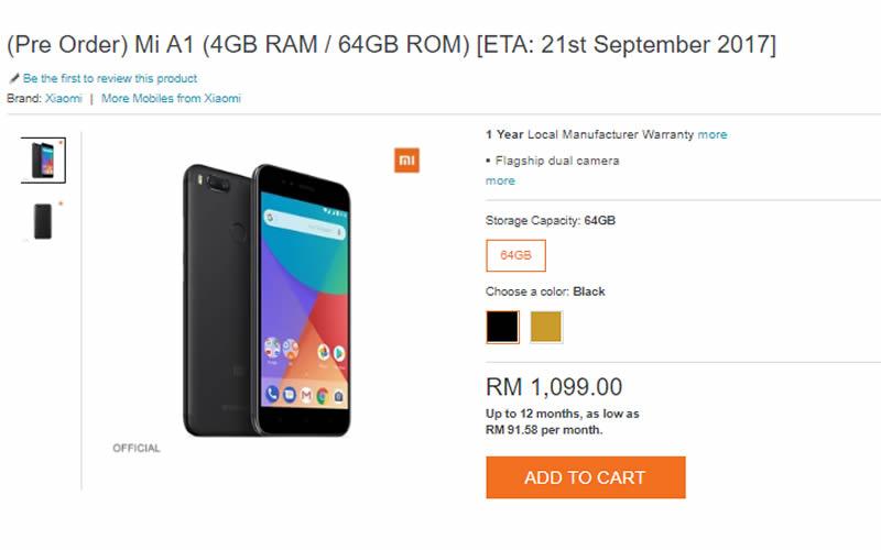 Mi A1 price Malaysia
