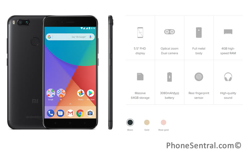 Specifications of the Xiaomi MiA1 smartphone.