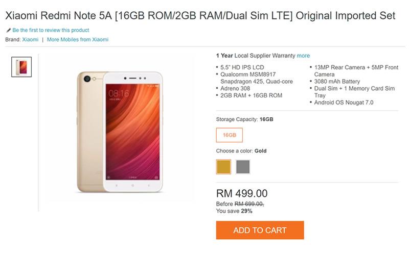 Xiaomi Redmi 5A offfer on Lazada