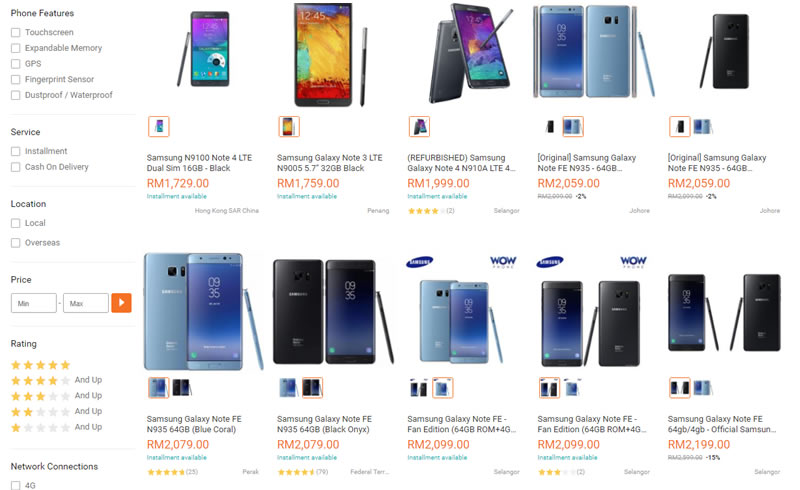 Samsung Galaxy Note FE price on Lazada Malaysia
