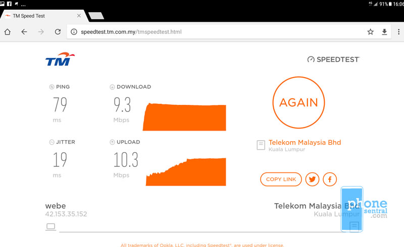 Unifi Mobile 4G coverage at SUPP HQ area
