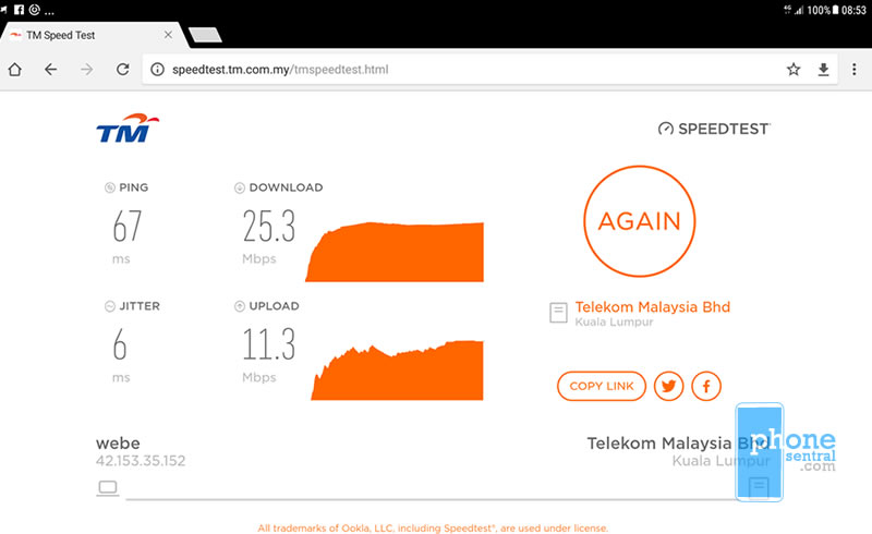 Unifi Mobile 4G coverage near RTM Kuching