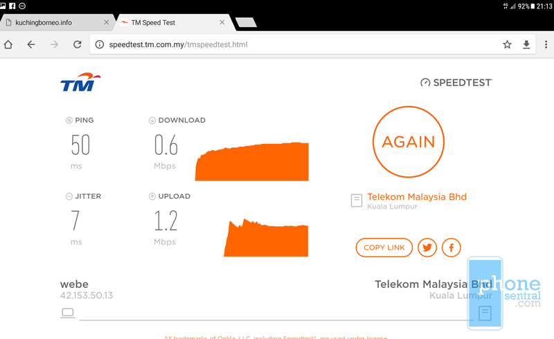 Unifi Mobile speed test in Taman Matang Indah